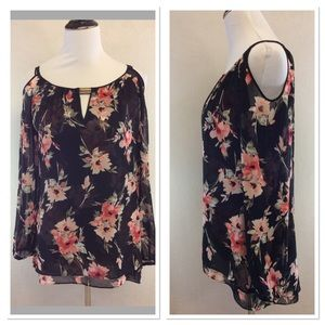 WHBM floral print cold shoulder blouse
